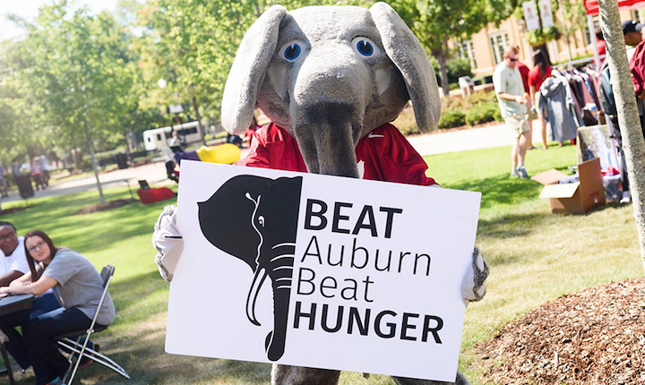 Big Al with Beat Auburn Beat Hunger sign